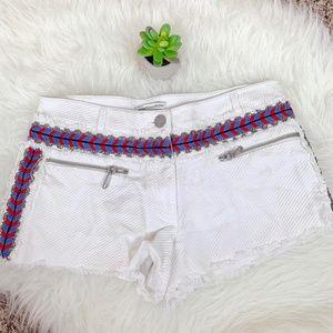 Rebecca Minkoff White Red Blue Bianca Studs Shorts